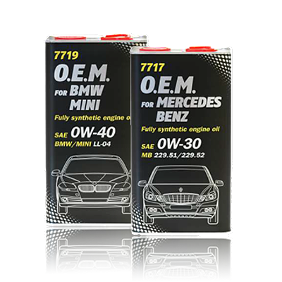 Уже в ПРОДАЖЕ ОРИГИНАЛЬНЫЕ моторные масла MANNOL для BMW\MINI(7719) и Mersedes-Benz(7717)